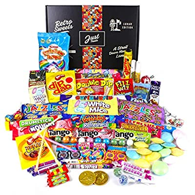 retro sweets hamper: just treats lunar gift hamper: jam packed with the best ever retro sweets Just Treats Lunar Treasure Gift: Jam Packed with the Best Ever Retro Sweets. Great Valentine, Easter Gift, Birthday Gift… 61S22HmMZyL