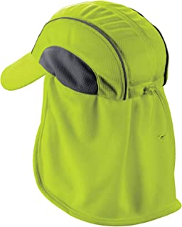 Ergodyne Chill-Its 6650 Absorptive Moisture-Wicking High Visibility Baseball Hat with Neck Shade, Lime