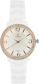95017KC01 - Titan Ladies Casual Watch, 30m Water Resistant, Stainless Steel Ceramic, White and Gold