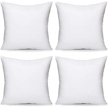 """Acanva Throw Inserts 18"""" x 18"""" Decorative Stuffer Pillows Square Form Cushion Filler, White, 4 Count, 18""""-4P"""