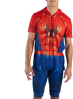 Spiderman Cropped Hooded Union Suit Onesie Pajama for men