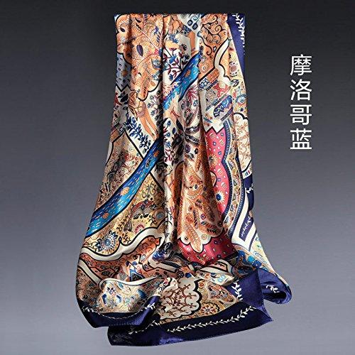 Bufandas Fulares Bufandapañuelo De Seda Nuevo Pañuelo Estampado De 100 Bandas, Azul Marroquí, 108 X 108 Cm