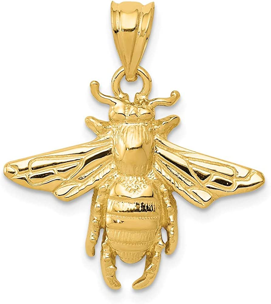 14k Yellow Gold Solid Bee Pendant Charm Necklace Insect Arachnid Fine Jewelry For Women Gifts For Her