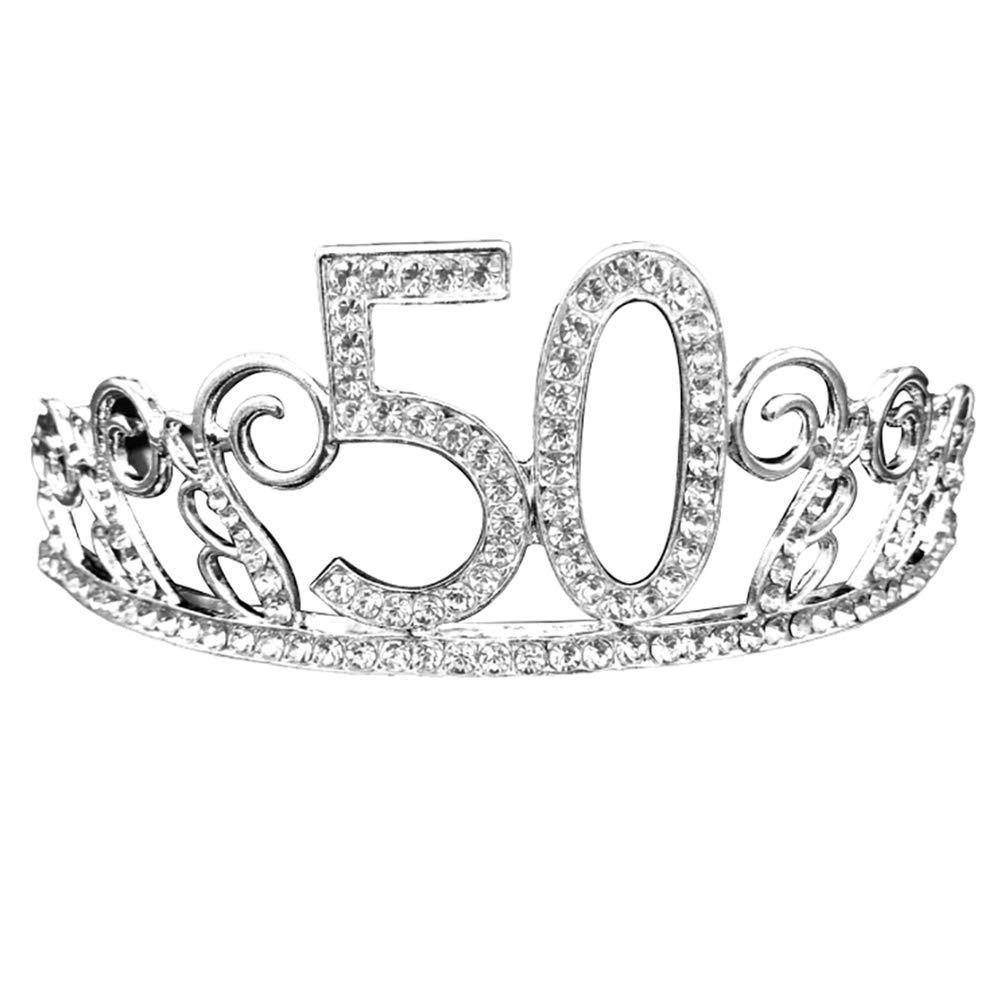 Yinpinxinmao Women Hollow Rhinestone Inlaid Number Tiara Birthday Party Crown Decoration 50#