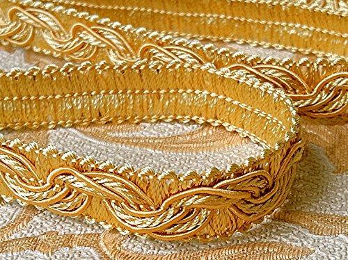 Mosel Avenue Art & Gobelin Studio 20,0 m Posamentenborte Breite 16 mm Farbe Gold/Honiggelb (0,79 €/m) Brokatborten Dekoborte Bordüre Fransen Brokat Spitze Barock