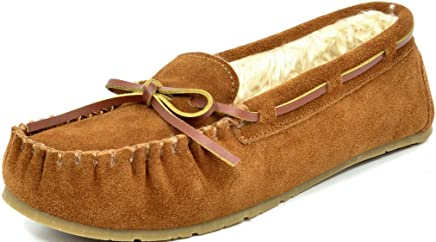 DREAM PAIRS Women's Shozie Faux Fur Slippers Loafers Flats Shoes