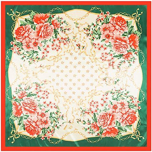 WEJNNI imitatie zijde sjaal 90cm * 90cm metalen ketting Rose Vrouwen Bigscarf