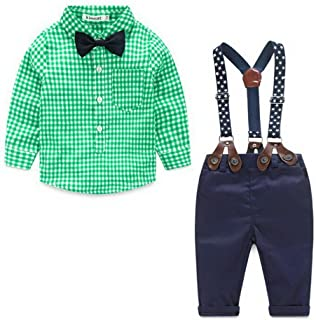 LEXUPE Infant Baby Boys Gentleman Bart Strampler Hosentr/äger Strap Shorts Set Outfits