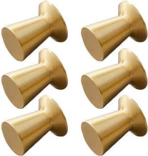 6 stuks enkele gat meubels trekgrepen, gouden messing lade knoppen, kleine ronde kast knoppen, gouden lade knoppen, voor k...