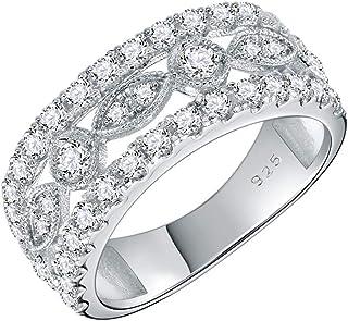Lavencious 925 纯银镀铑 AAA 锆石 复古戒指 女式 尺寸 6-9
