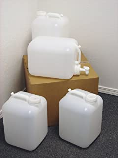 5 Gallon Carboy, 4 Pack (20 Gallons), Emergency Water Storage Kit - New! - Clean! - Boxed! - Free Spigot!