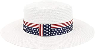 SHENTIANWEI Summer Women Travel Straw Beach Sun Hat Sun Visor Fedora Sun Hat Flag Pattern Wide Brim Sunhat