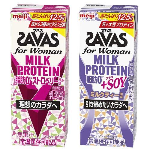 明治 SAVAS ザバス ミルクプロテイン 脂肪0 ストロベリー・SOYミルクティー風味 2種 各1ケース【200ml×48本】セット