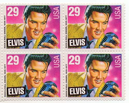 1993 ELVIS PRESLEY #2721 Block of 4 x 29 cent US Postage Stamps by USPS