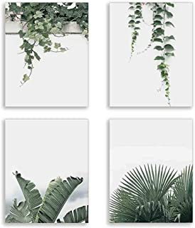Green Leaves Plant Wall Art Canvas Print for Bedroom Watercolor Style Plant Wall Decor for Bedroom Living Room Home Decoration Tropical Plant Green Leaves Canvas Painting Set of 4 8X10 inch Unframed