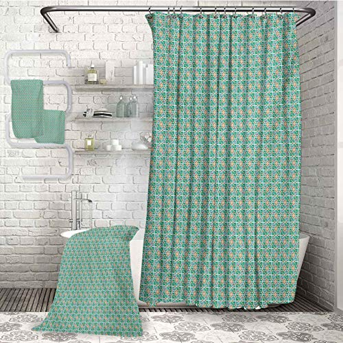 Teal and White Microfiber Bath Household goods 4-piece bathroom set Floral Moroccan Mosaic Pattern Ancient Cultural Design Tile Suitable for swimming pool Gym and bathroom (W72'xL72') (W31'xL63') (W1