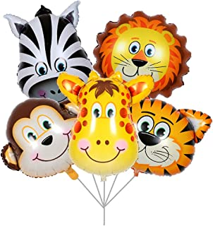 BALONAR 5pcs Tiger Lion Zebra Monkey Graffe Foil Balloons Animal Balloons for Child Birthday Party Supplies Cute Baby Shower Decorations