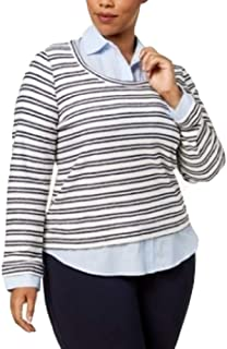 TOMMY HILFIGER Plus Size Layered-Look Striped Ivory Sky Captain 0X