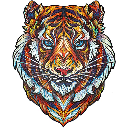 Unidragon Wooden Puzzle Jigsaw, Best Gift for Adults and Kids, Unique Shape Jigsaw Pieces Lovely Tiger, 9,8 x 12.3 inches, 181 Pieces, Medium