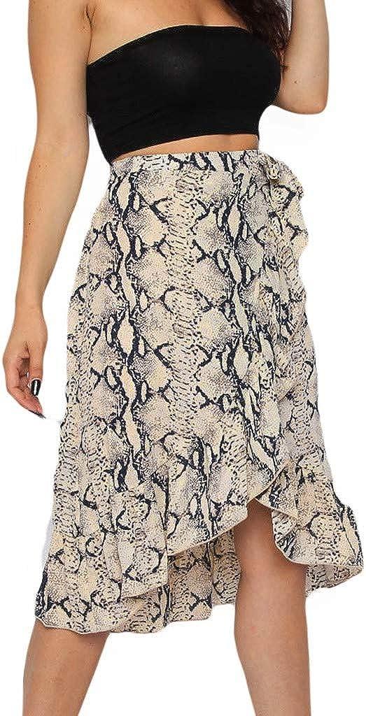 DORIC Womens Ladies High Fashion Tie Bow Animal Print Ruffle Hem Frill Wrap Midi Skirt