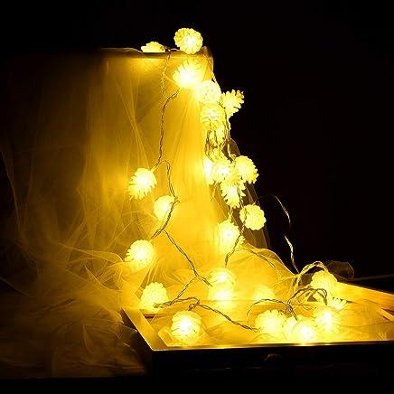 FeiliandaJJ Guirlande lumineuse de Noël en pin pour décoration de Noël LED  Boîte à piles Guirlande