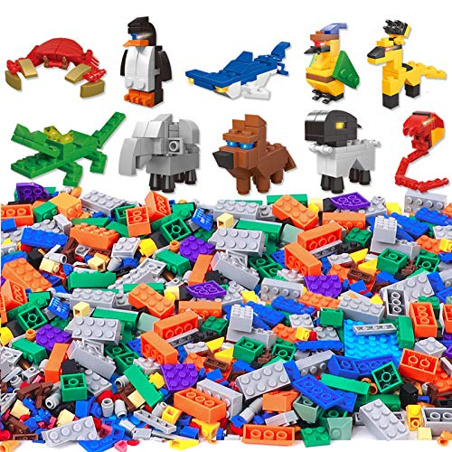 Lucky Doug 1100 Pieces Building Bricks Set for Kids, Classic Kids Building Block Toys with 10 Animal Block Kit Compatible with All Major Brands for Kids Boys Girls Ages 3+