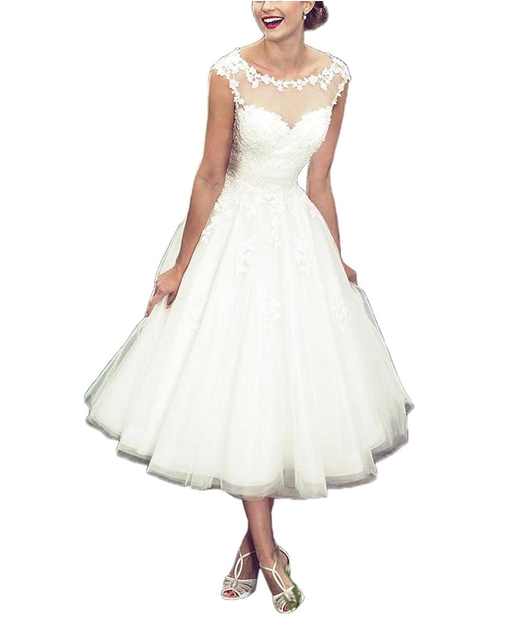 APXPF Women's Elegant Sheer Vintage Tea Length Lace Wedding Dress for Bride