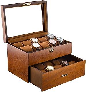 Boîte de Montre pour 20 Montres Présentoir Bijoux Coffret de Rangement Homme Femme Ecrins pour Montres avec Couvercle en V...