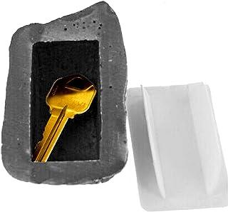 XQWR Boîte à clés en Forme de Pierre créative Boîte de Rangement pour clés en résine Boîte à clés cachée (Couleur d'encre)
