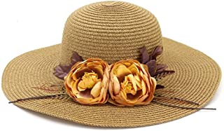 Summer hat Fashion Church Hat Summer Woman Fold Flower Sun Hat Beach Hat for UV Protection Chaff Hat hat (Color : Coffee, Size : 56-58CM)
