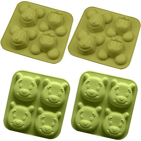 4PCS Moule Forme Gâteau Silicone, OYSJ Forme D'animal de Dessin Animé,Pour Muffins, gâteau au chocolat, moule à savons, Cupcake Et Gelée