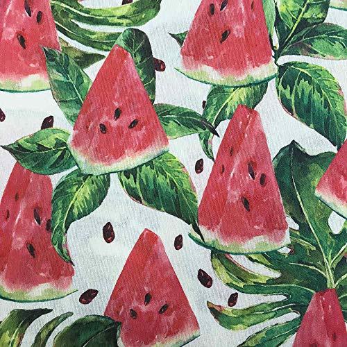 Kt KILOtela Tela de loneta resinada - Mantelería Antimanchas - 100% algodón - Retal de 100 cm Largo x 140 cm Ancho   Sandías - Rojo, Verde ─ 1 Metro