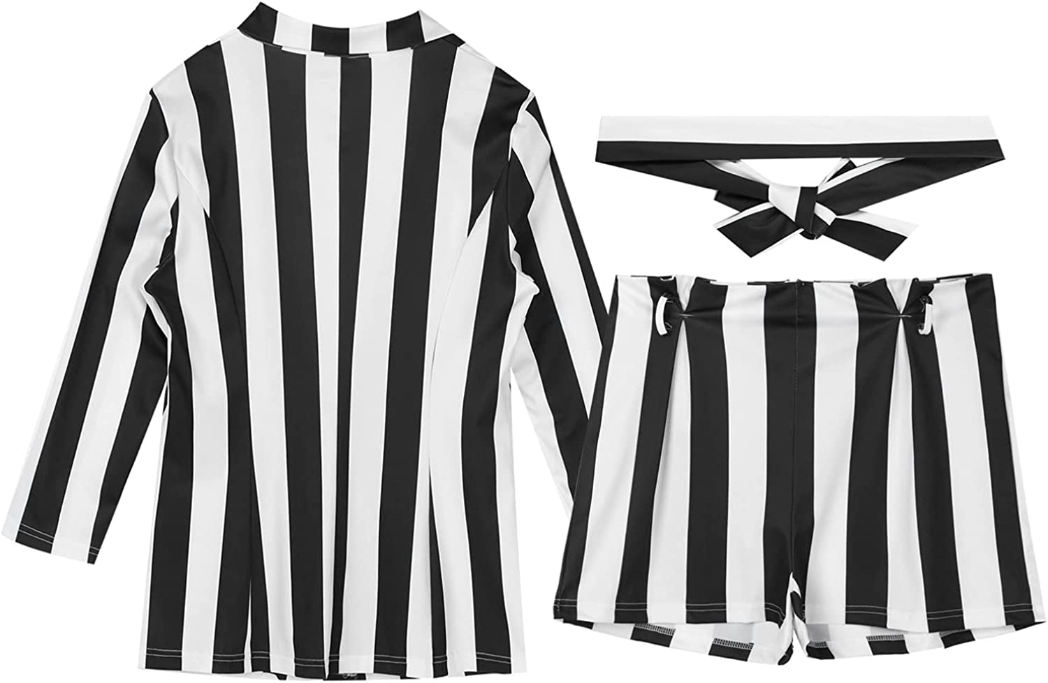 FEESHOW Womens 2 Pieces Blazer Outfits Sexy Striped 3/4 Sleeve Blazer Jacket and Shorts Jumpsuit Set