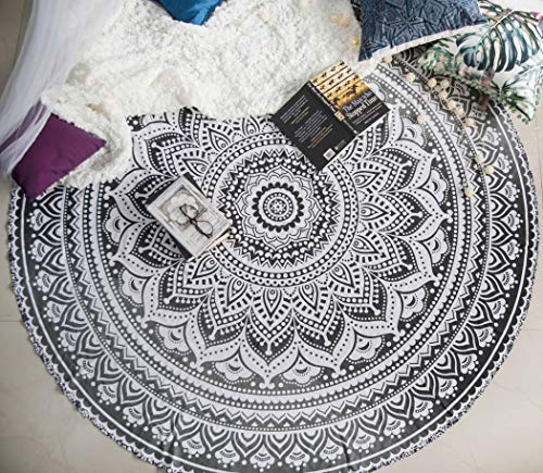 Indie Pop Mandala Round Tapestry or Beach Blanket - Hippie Indian Bohemian Mandala Blanket or Towel - Round Boho Tablecloth, Meditation Rug or Wall Hanging, Circle Yoga Mat - 72-inches, Black / Grey