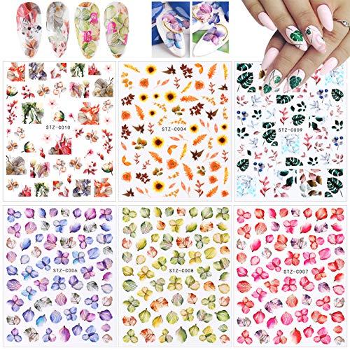 Flower Nail Art Stickers (6 Blatt), Nagel Blumen Aufkleber, MWOOT Bunt Blumen 3D Nagel Sticker Selbstklebende Nagelaufkleber Nail Art Decals Set für Frau Nagel Maniküre Dekoration