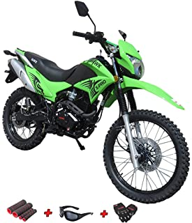250cc Dirt Bike Hawk 250 Enduro Street Bike Motorcycle Bike with Gloves, Sunglasses and Handgrip (Black)