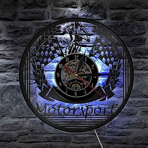 CCGGG Reloj de Pared de Vinilo de Carreras, lámpara de Pared LED de Carreras de Motocicletas, lámpara de Pared de cabecera, Temporizador de Motocicleta Hecho de Discos de Vinilo