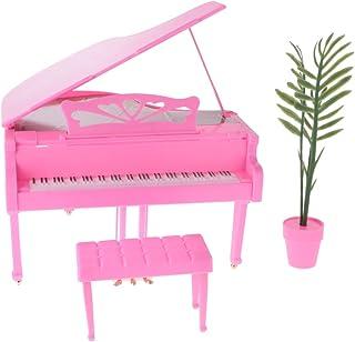 DYNWAVE 1/6 Piano Stool Plants Pot Set for Dollhouse Music Room Decoration, 12 Inch Dolls Accessories, Children Pretend Pl...