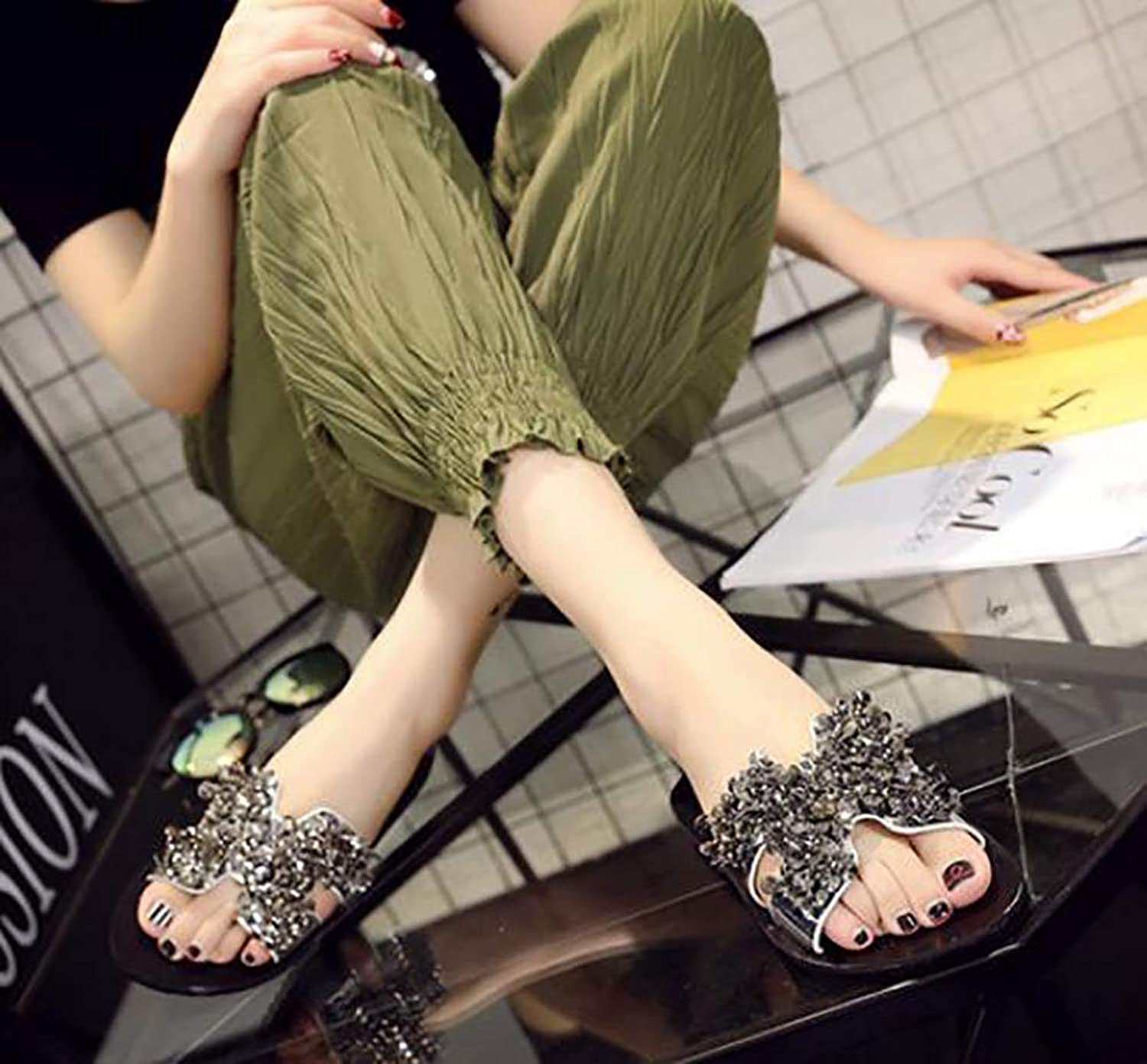 Women's Summer Flash Brilliant Rhinestone Casual shoes Flat Sequins Flops