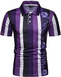 LUKEEXIN Summer Men's Short Sleeve Contrast Stripe Casual T-Shirt Polo Shirt