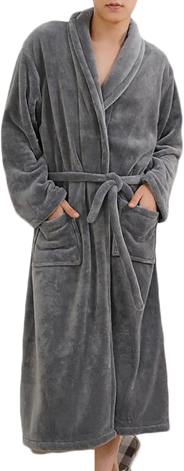 Papijam Mens Flannel Solid Belt Pocket Loungewear Homewear Bathing Robe