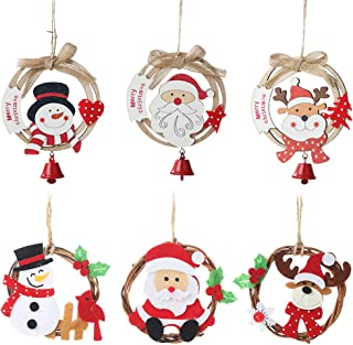 Homecube Christmas Rattan Ring & Bell Pendants with Wooden Ring - 6 Pack Christmas Bow Ornaments Decorations Festive Season Santa & Snowman & Reindeer for Christmas