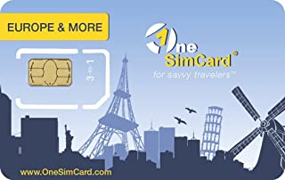 OneSimCard Europe & More Triple SIM Card Pre-Loaded with $5.00 of airtime, Free Incoming Calls and Outgoing International Calls from $0.25 per Minute.