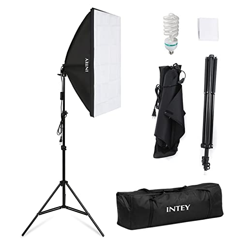 INTEY Softbox 50 x 70 cm avec 85W Ampoule E27, Kit d'éclairage Photographie avec 2m Support Triangulaire et Sac de Protection, Photo Studio pour des Effets d'éclairage Doux
