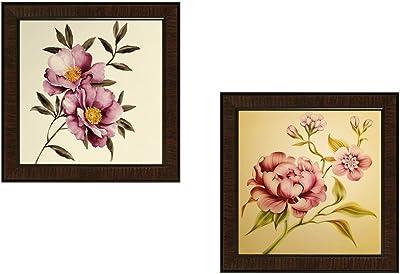 SAF Flower Textured UV Print Painting(Set of 2, 35 cm x 2 cm x 35 cm) SANFAD172 SANFAD172