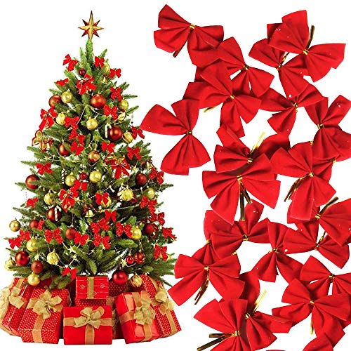 BAIBEI 48Pcs Decorazioni per porte natalizie - Nastro Decorazione natalizia Fiocchi Albero Bowknots Festival Party Garden Ornament Spilla Pin Decor (rosso)