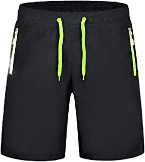 omniscient Men's Workout Shorts Elastic Wasit Gym Athletic Casual Comfy Shorts with Zipper Pocket