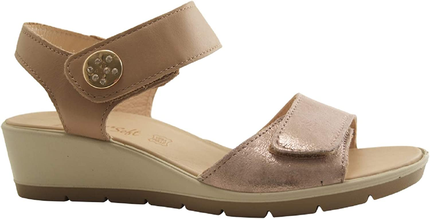 ENVAL SOFT 3285233 Women's Beige Leather Wedge Sandals Made in