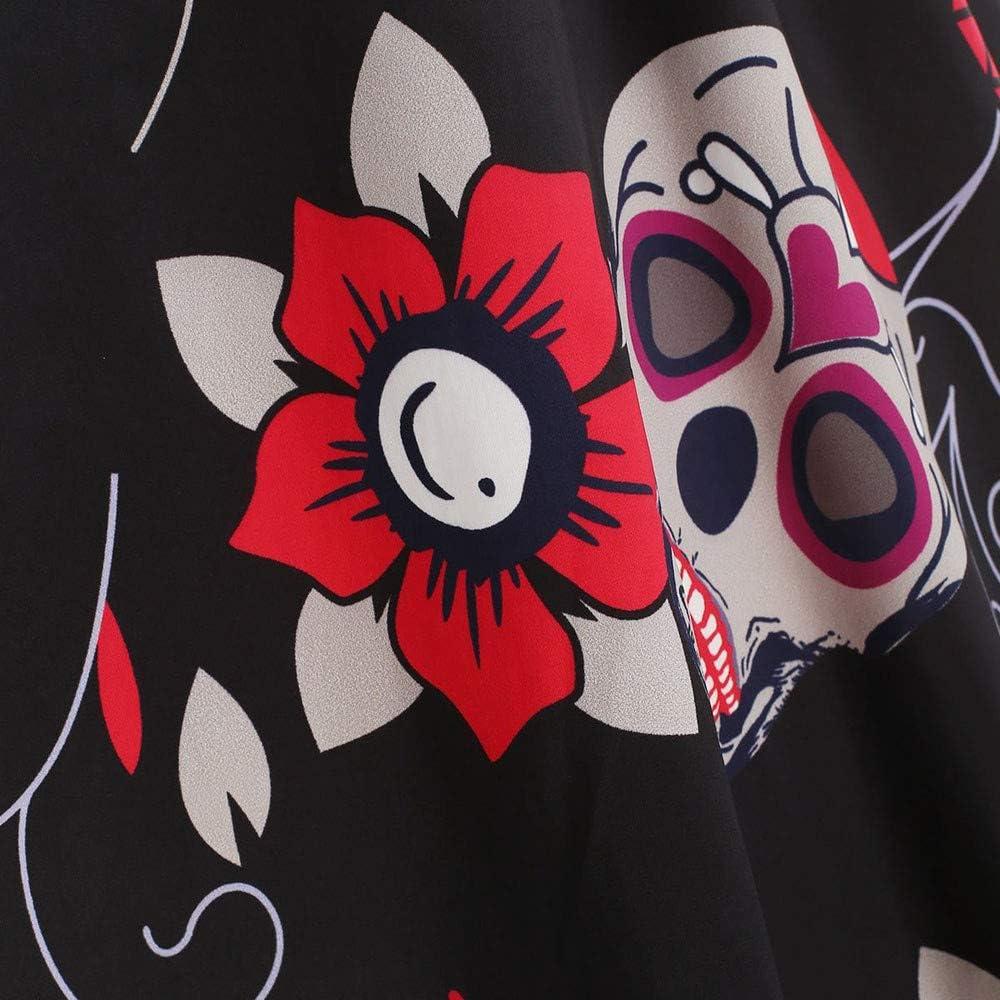 ZEELIY Kleider Damen Langarm Vintage Retro Cocktailkleid Rockabilly Weihnachten Halloween Karneval Drucken Abend Prom Kostüm A-Linie Rundhals Kleid Weihnachtenkleid Z1--freier Stil
