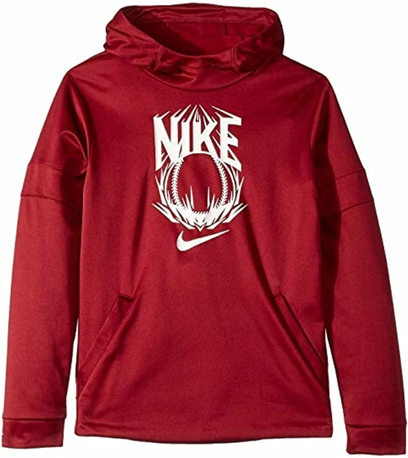 Nike Kids Big-Boys Therma Dri-Fit Sports Pullover Hoodie - Size Small - Burgundy/White
